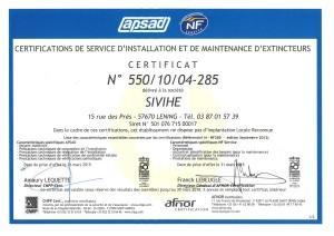 Certificat APSAD Sivihe